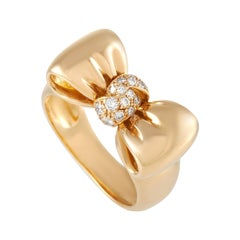 Van Cleef & Arpels 18K Yellow Gold 0.20 Ct Diamond Bow Ring