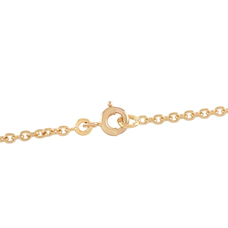 Round Cut Van Cleef & Arpels 18 Karat Gold 0.39 Carat Diamond and Chrysoprase Pendant For Sale