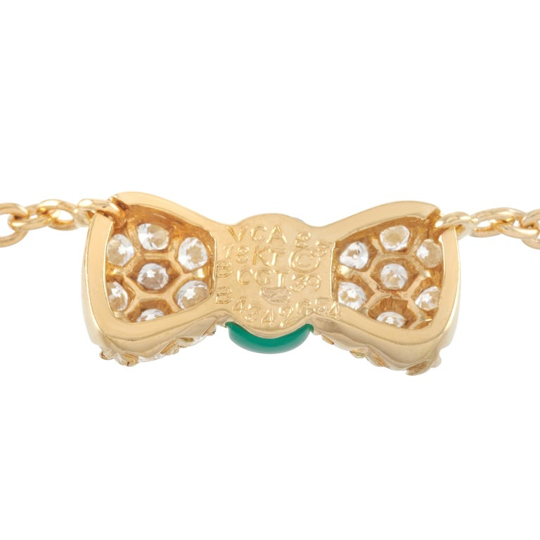 Van Cleef & Arpels 18 Karat Gold 0.39 Carat Diamond and Chrysoprase Pendant In Excellent Condition For Sale In Southampton, PA