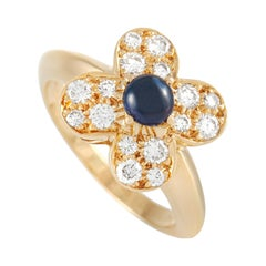 Van Cleef & Arpels 18K Yellow Gold 0.43 Ct Diamond and Blue Sapphire Trèfle Ring