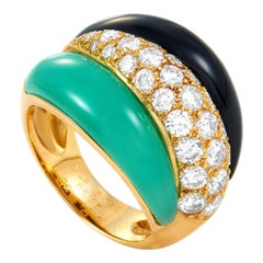 Van Cleef & Arpels 18K Yellow Gold 1.51 Ct Diamond, Chrysoprase and Onyx Ring