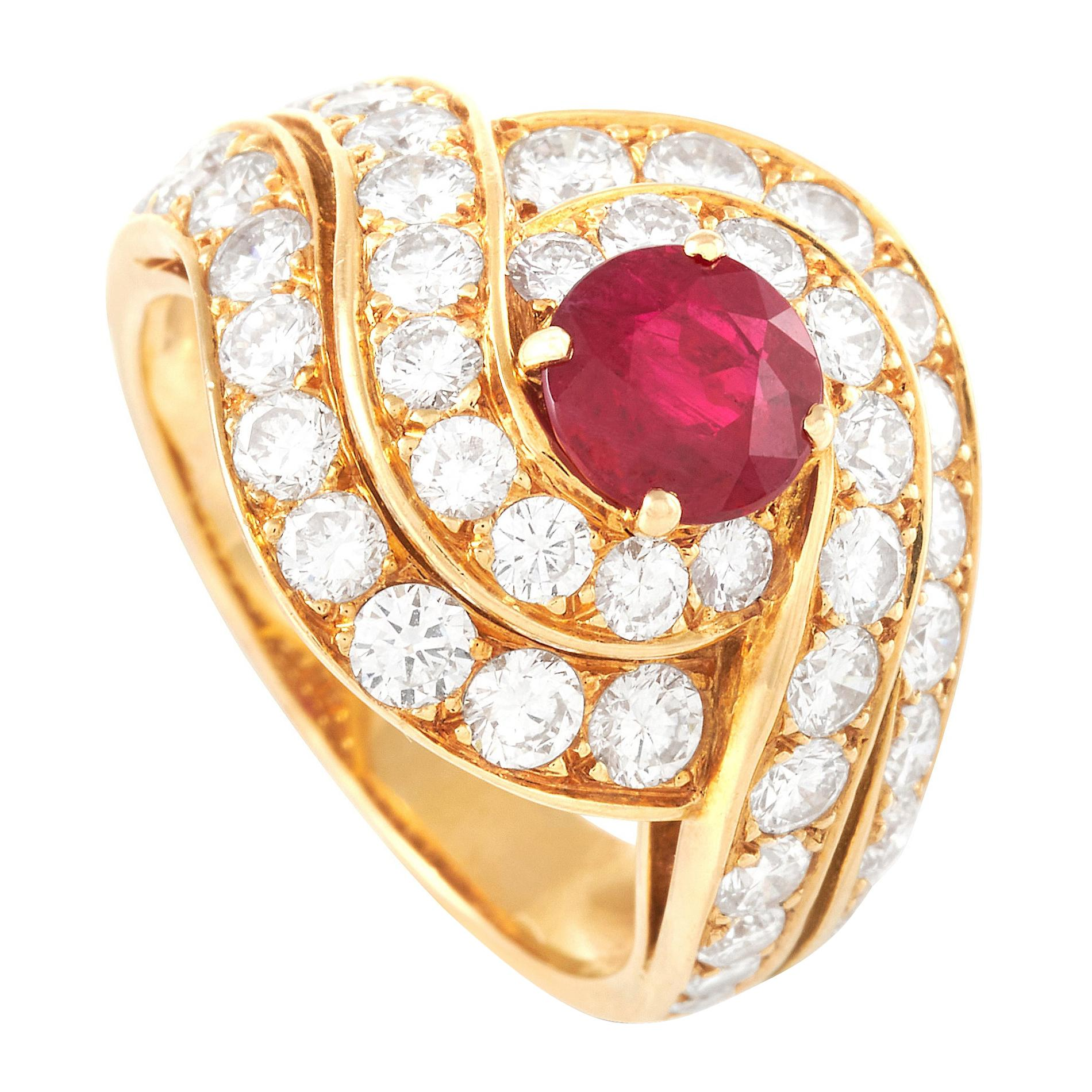 Van Cleef & Arpels 18K Yellow Gold 2.10 ct Diamond and 0.95 ct Ruby Ring