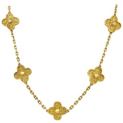 Van Cleef & Arpels 18 Karat Yellow Gold Alhambra Necklace