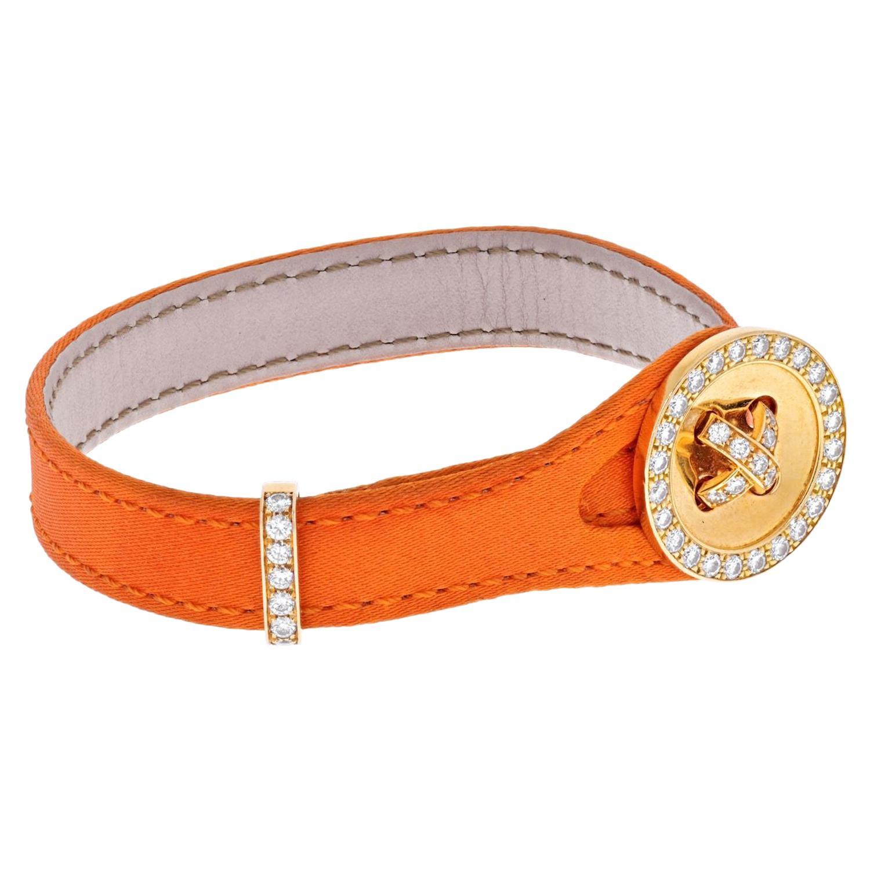 Van Cleef & Arpels 18K Yellow Gold and Diamond Boutonnière Bracelet