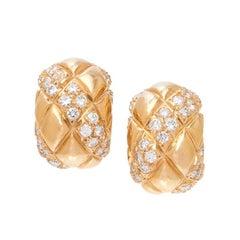 Van Cleef & Arpels 18K Yellow Gold and Diamond Earclips