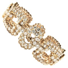 Van Cleef & Arpels 18 Karat Yellow Gold and Diamond Geometric Bracelet