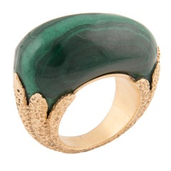 Van Cleef & Arpels 18k Yellow Gold and Malachite Sculptural Ring