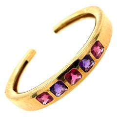 Van Cleef & Arpels 18k Yellow Gold Bracelet with Pink Tourmaline and Amethyst