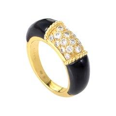 Van Cleef & Arpels 18 Karat Yellow Gold Diamond and Onyx Band Ring