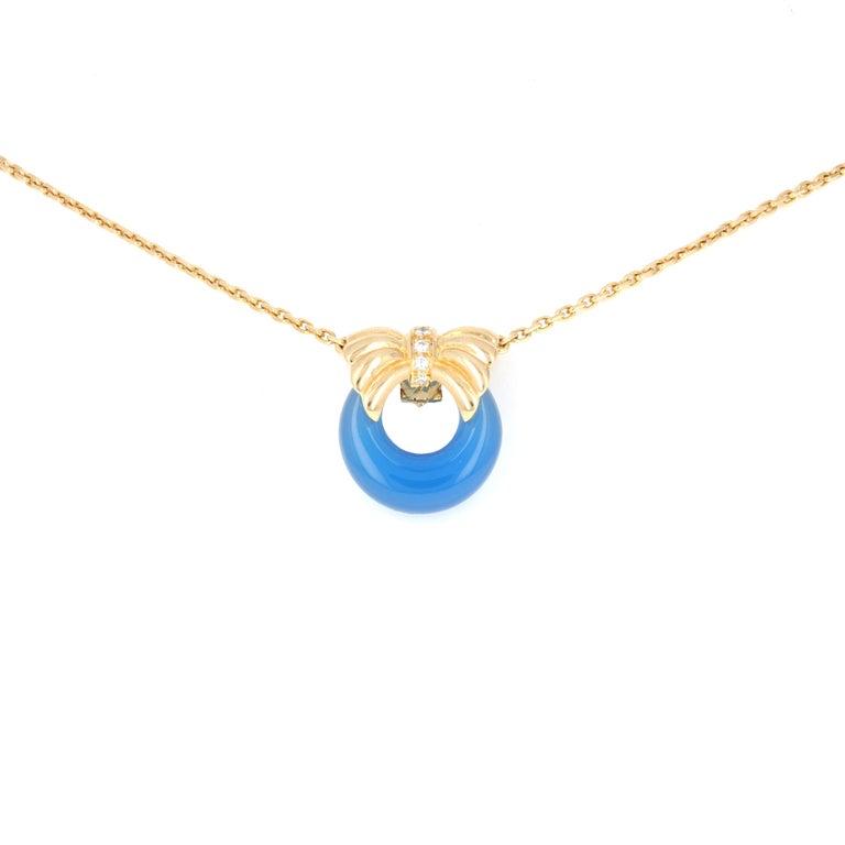 Modern Van Cleef & Arpels 18 Karat Yellow Gold Diamond Interchangable Pendant Necklace For Sale