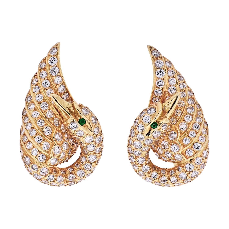 Van Cleef & Arpels 18K Yellow Gold Diamond Swan Earrings