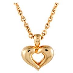 Van Cleef & Arpels 18 Karat Yellow Gold Heart Pendant Choker Necklace