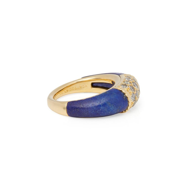 Contemporary Van Cleef & Arpels 18 Karat Yellow Gold Lapis and Diamond Philippine Ring For Sale