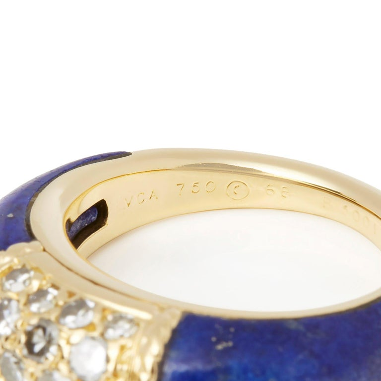 Women's Van Cleef & Arpels 18 Karat Yellow Gold Lapis and Diamond Philippine Ring For Sale