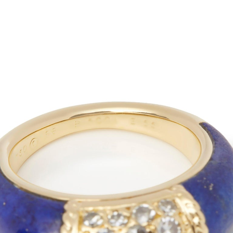 Van Cleef & Arpels 18 Karat Yellow Gold Lapis and Diamond Philippine Ring For Sale 1