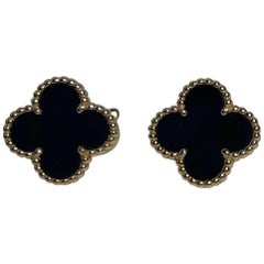 Van Cleef & Arpels 18K Yellow Gold & Onyx Vintage Alhambra Earrings