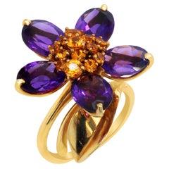 Van Cleef & Arpels 18k Yellow Gold Orange Sapphire Amethyst Hawaii Flower Ring