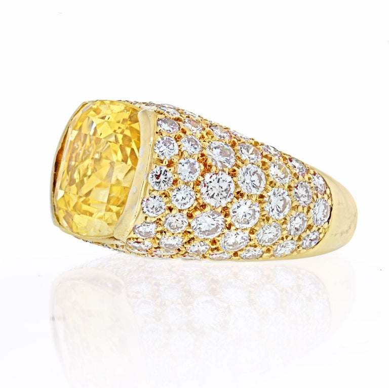 Oval modified step-cut yellow sapphire, round diamonds, 18k yellow gold, signed VCA, numbered. Ceylon, Yellow Sapphire, no gemological evidence of heat. Yellow Sapphire: calculated to weigh approximately 10.00 - 13.00 carats Diamonds: round diamonds