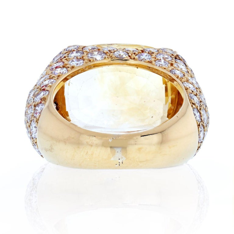 Modern Van Cleef & Arpels 18k Yellow Gold Oval Cut Yellow Sapphire Pave Diamond Ring For Sale