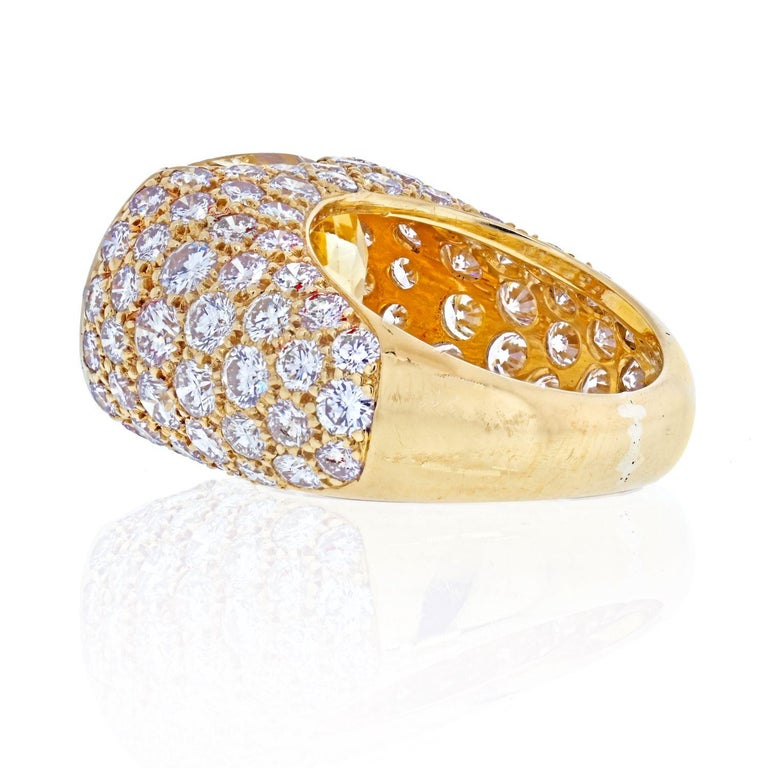 Van Cleef & Arpels 18k Yellow Gold Oval Cut Yellow Sapphire Pave Diamond Ring In Excellent Condition For Sale In New York, NY