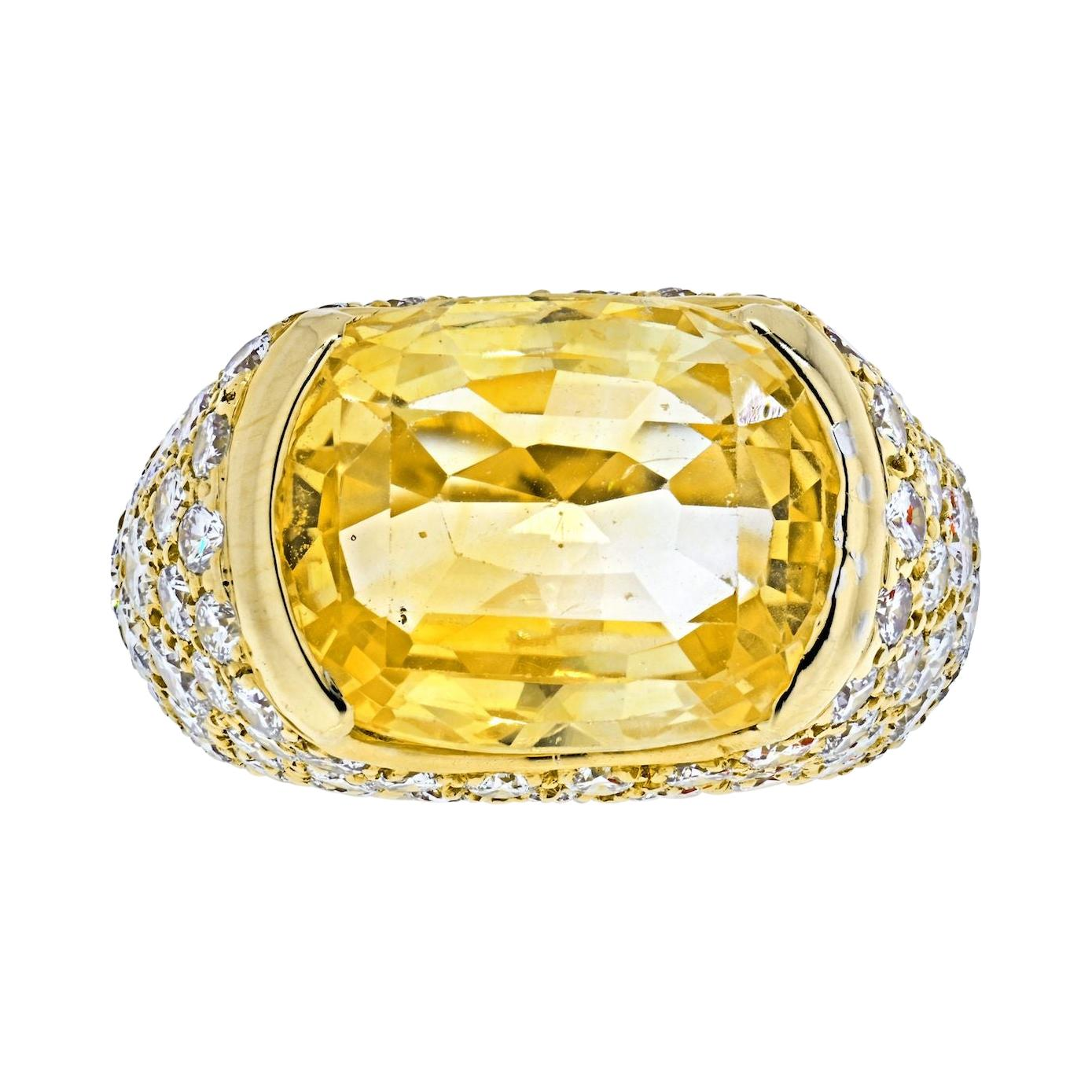Van Cleef & Arpels 18k Yellow Gold Oval Cut Yellow Sapphire Pave Diamond Ring