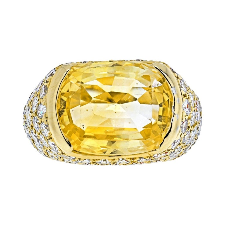 Van Cleef & Arpels 18k Yellow Gold Oval Cut Yellow Sapphire Pave Diamond Ring For Sale