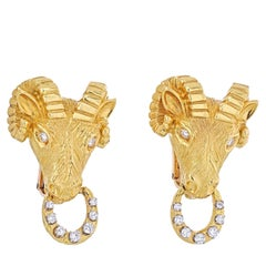 Van Cleef & Arpels 18K Yellow Gold Ram Head 0.50 Carat Diamond Clip-On Earrings