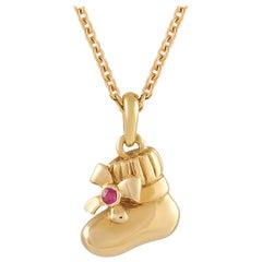 Van Cleef & Arpels 18K Yellow Gold Ruby Shoe Pendant Necklace