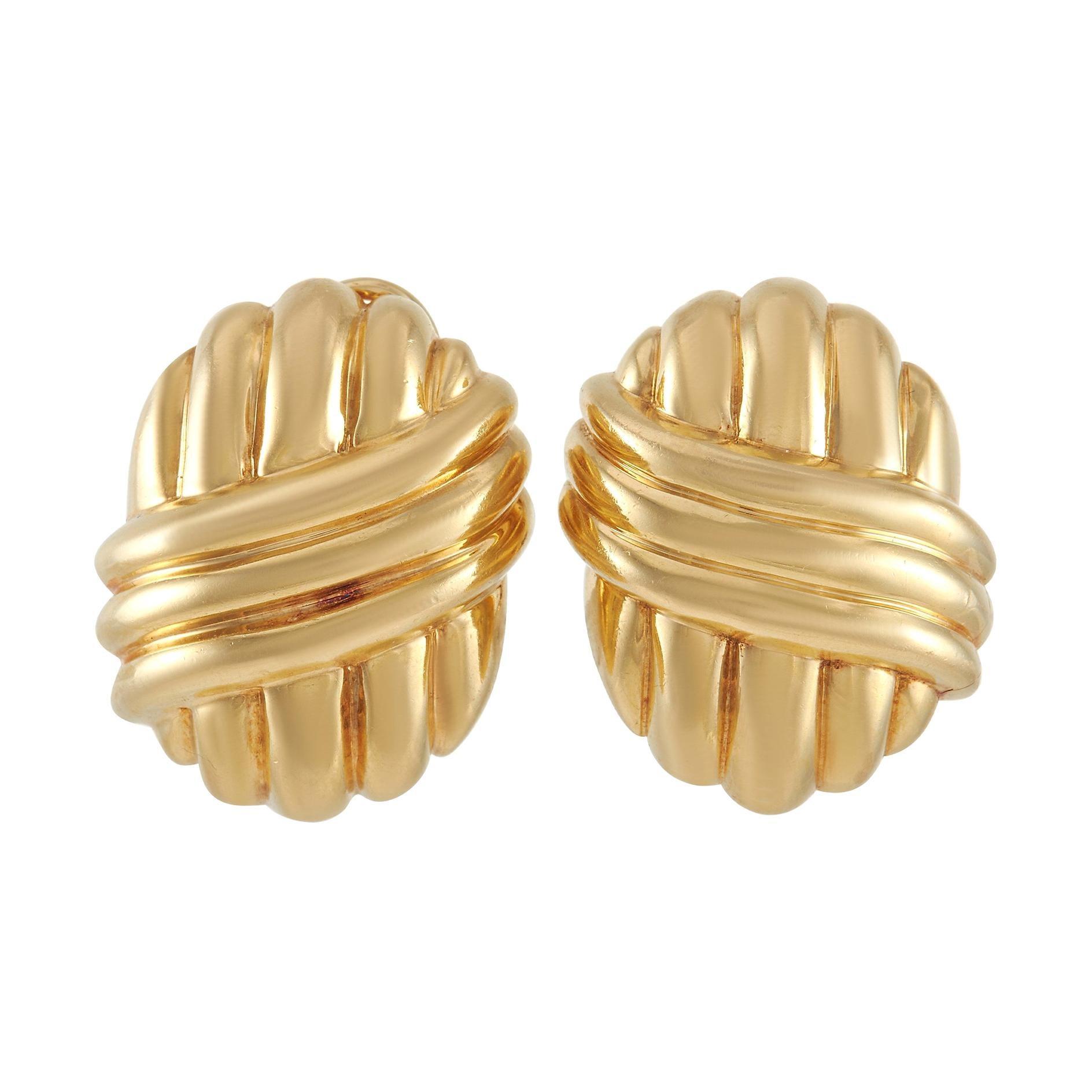 Van Cleef & Arpels 18k Yellow Gold Shell Clip-On Earrings