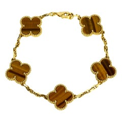 Van Cleef & Arpels 18K Yellow Gold/Tiger's Eye 5 Motif Vintage Alhambra Bracelet