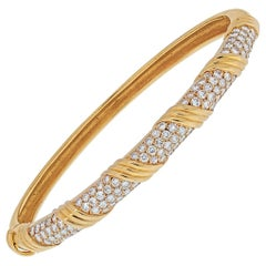 Van Cleef & Arpels 18K Yellow Gold Vintage Diamond Hinged Bangle Bracelet