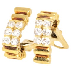 Van Cleef & Arpels 18 Karat Yellow Gold Vintage Diamond Hoop Earrings