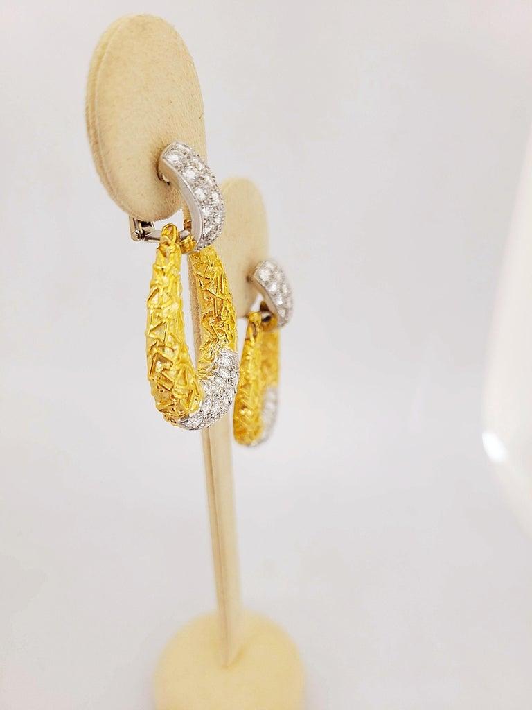 Contemporary Van Cleef & Arpels 18KT Chevalerie 1970s Doorknocker Earrings 5.50Ct. Diamonds For Sale