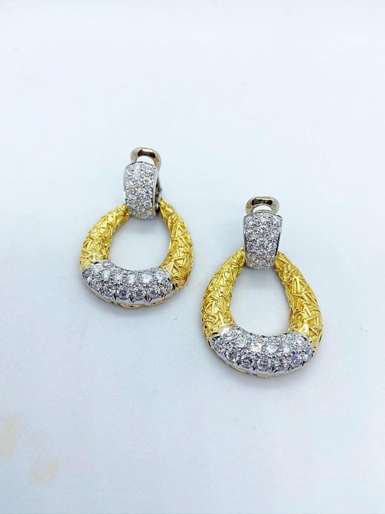 Van Cleef & Arpels 18KT Chevalerie 1970s Doorknocker Earrings 5.50Ct. Diamonds For Sale 2