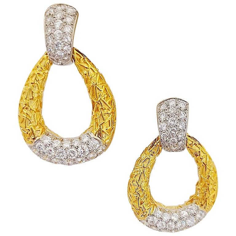 Van Cleef & Arpels 18KT Chevalerie 1970s Doorknocker Earrings 5.50Ct. Diamonds For Sale