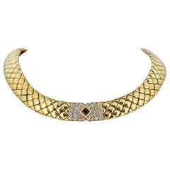 Van Cleef & Arpels, 18 Karat Gold Choker Necklace with Ruby and Diamonds, France