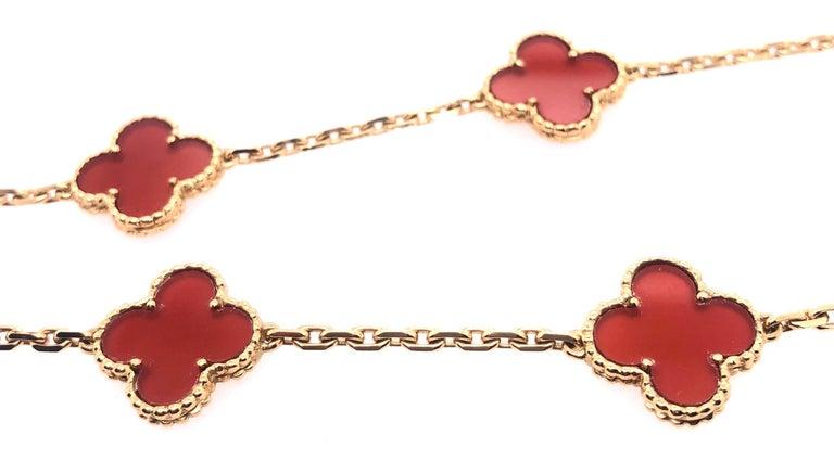 Van Cleef & Arpels 18 Karat Yellow Gold Carnelian 10 Motif Necklace For Sale 5