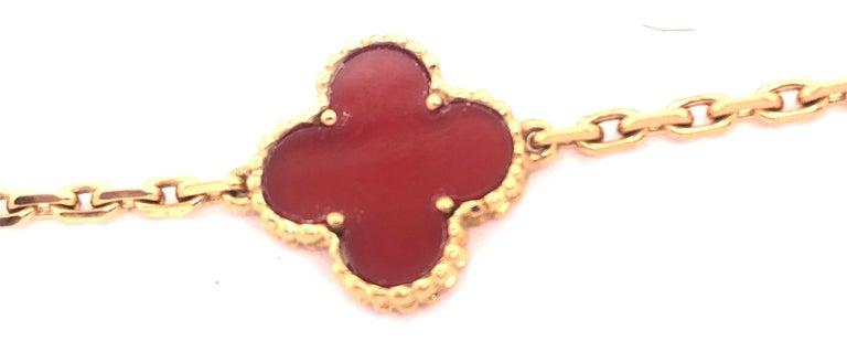 Van Cleef & Arpels 18 Karat Yellow Gold Carnelian 10 Motif Necklace For Sale 8