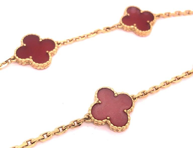 Van Cleef & Arpels 18 Karat Yellow Gold Carnelian 10 Motif Necklace For Sale 12