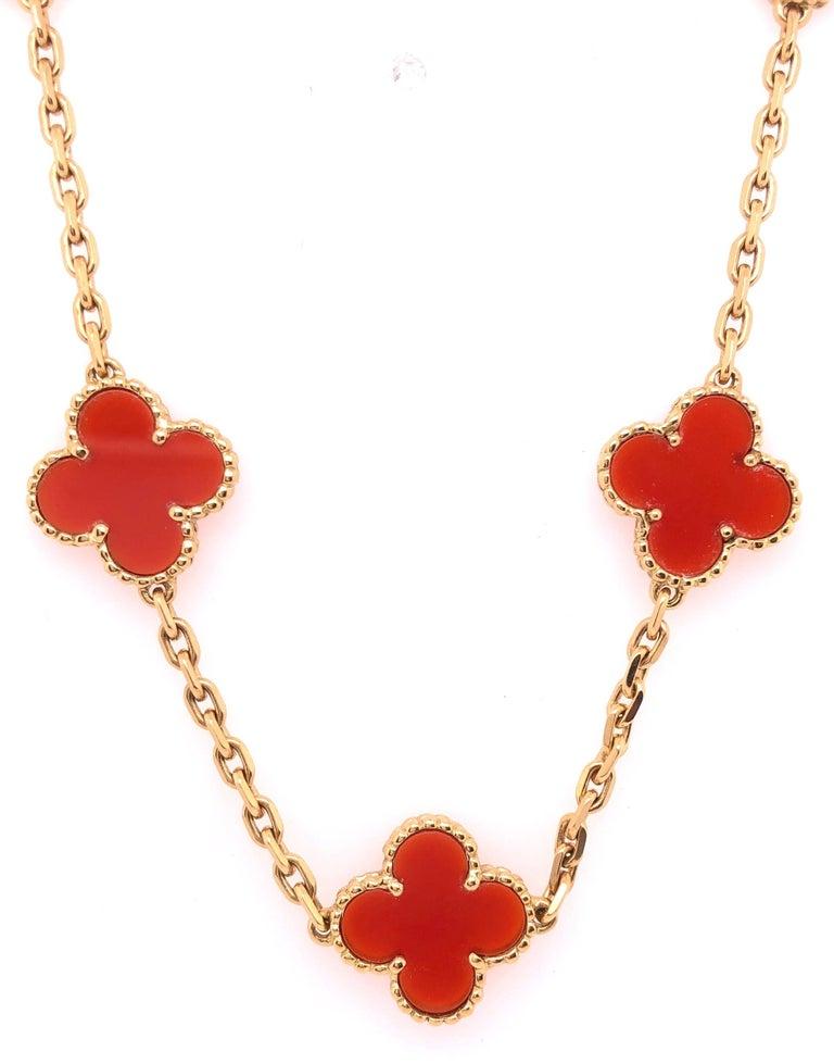 Van Cleef & Arpels 18 Karat Yellow Gold Carnelian 10 Motif Necklace For Sale 1
