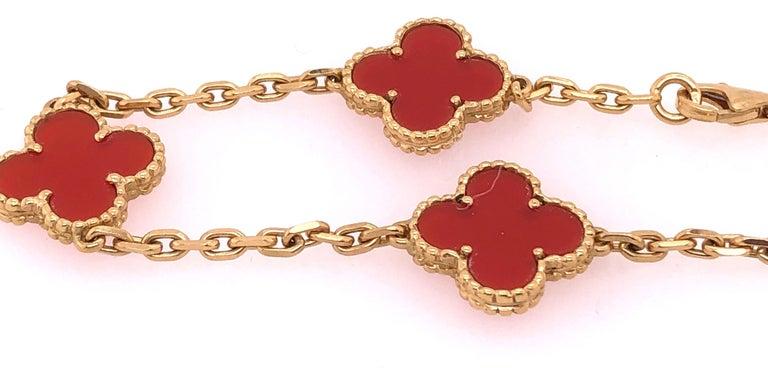 Van Cleef & Arpels 18 Karat Yellow Gold Carnelian 10 Motif Necklace For Sale 2