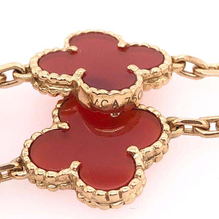 Van Cleef & Arpels 18 Karat Yellow Gold Carnelian 10 Motif Necklace For Sale 3