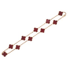 Van Cleef & Arpels 18 Karat Gold Vintage Alhambra Carnelian 10 Motif Necklace