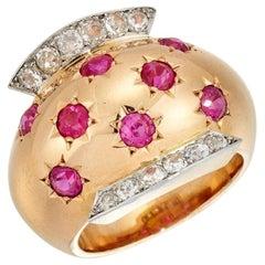 Van Cleef & Arpels 1940s Retro Ruby Diamond Gold Ring