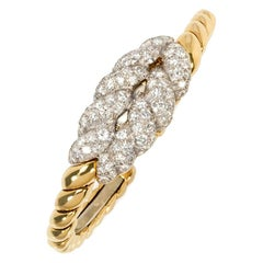 Van Cleef & Arpels 1950s Gold and Diamond Covered Watch Bracelet