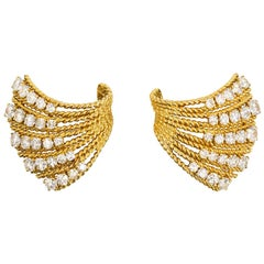 Van Cleef & Arpels 1950s Gold and Diamond Earrings, Wearable as Dress Clips