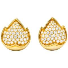 Van Cleef & Arpels 1960s 3.75 Carat Diamond 18 Karat Yellow Gold Ear-Clips