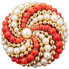 Van Cleef & Arpels 1960s Brooch-Pendant Coral, Pearls and 18 Karat Gold