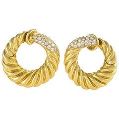 Van Cleef & Arpels 1960s Diamond and Gold Hoop Earrings