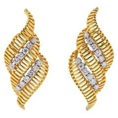 Van Cleef & Arpels 1960s Diamond Gold Earrings